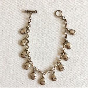 Rare, Dogeared Sterling 11 Pebble Charm Bracelet.